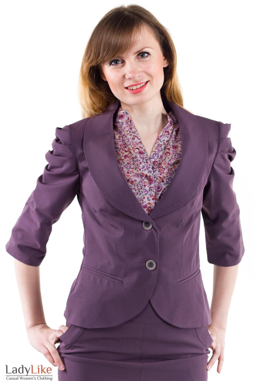 Фото Жакет с защипами на рукаве сиреневый Деловая женская одежда