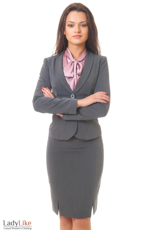 Купить серый жакет с юбкой Деловая женская одежда