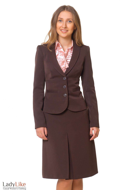 Жакет теплый коричневый с отрезной талией Деловая женская одежда