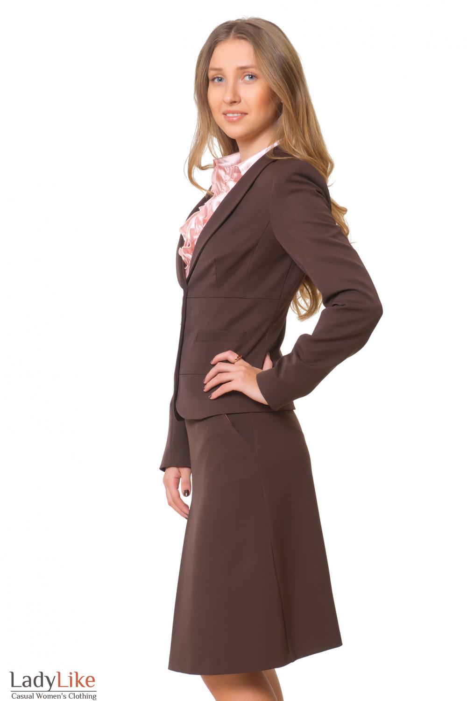 Купить теплый коричневый жакет Деловая женская одежда