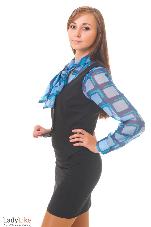 Купить черную коротку жилетку Деловая женская одежда