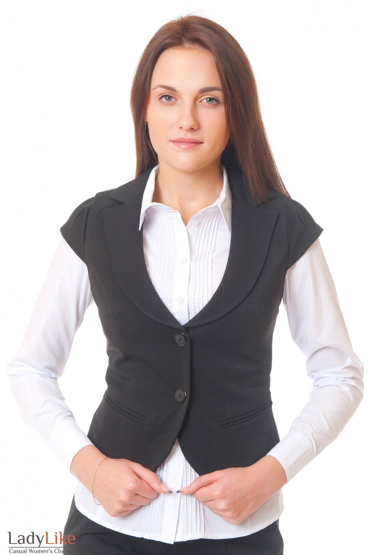 Жилет черный теплый с красивым рукавом Деловая женская одежда