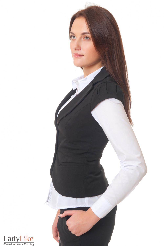Купить черную теплую жилетку Деловая женская одежда