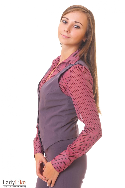 Купить короткую сиреневую жилетку Деловая женская одежда