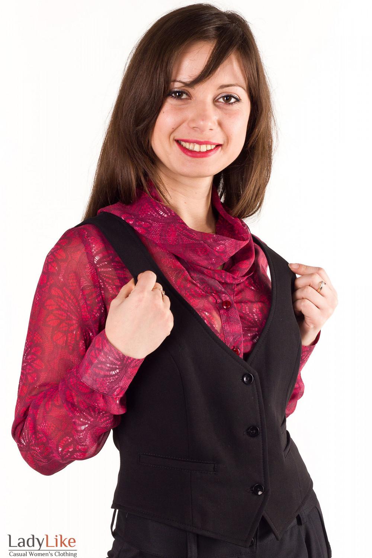 Жилетка черная на флисе Деловая женская одежда
