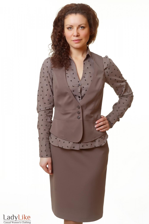 Фото Жилетка коричневая без карманов Деловая женская одежда
