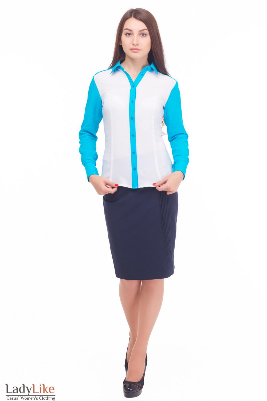 Купить рубашку с голубым воротником Деловая женская одежда