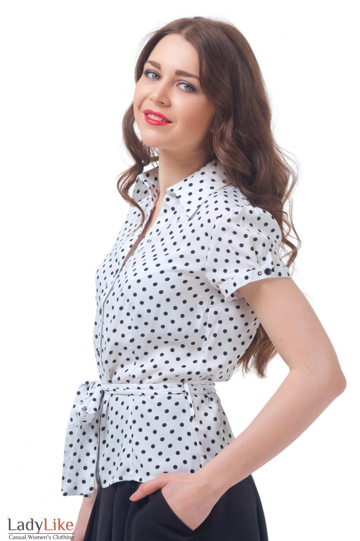 Блузка белая в черный горох с поясом Деловая женская одежда