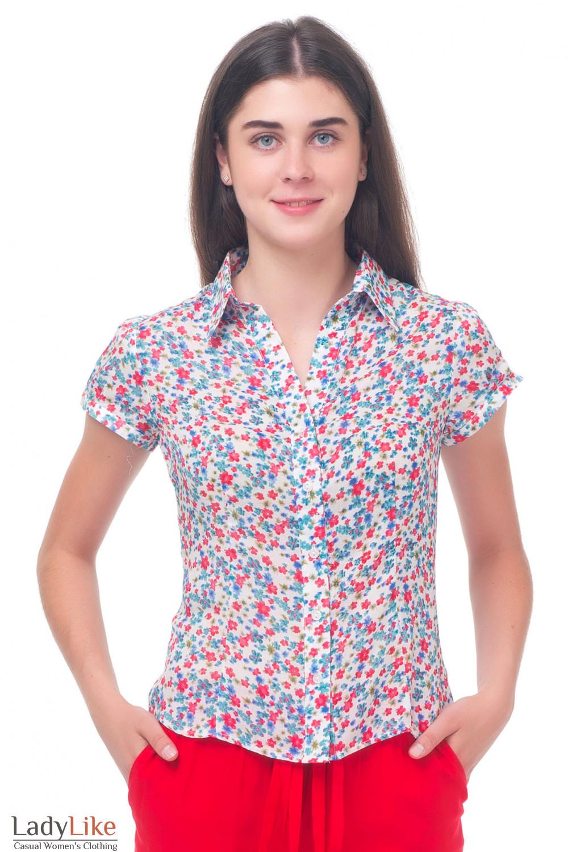 Блузка белая в красный цветочек Деловая женская одежда