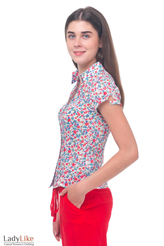 Купить летнюю блузку в цветочек Деловая женская одежда