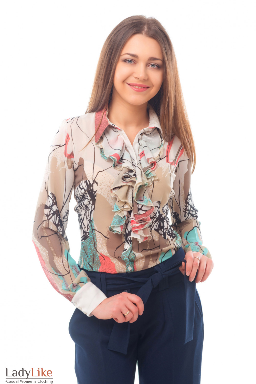 Блузка белая в разноцветную геометрию Деловая женская одежда