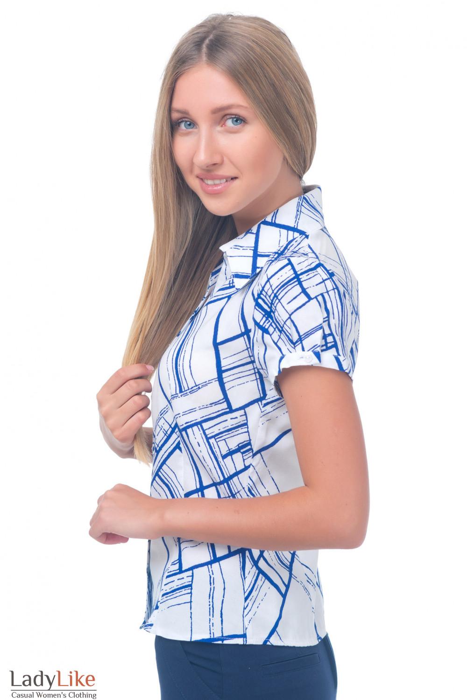 Купить белую блузку в синие полоски Деловая женская одежда