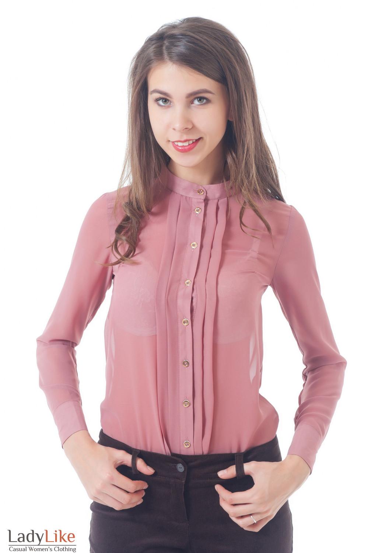 Купить блузку бежевую без воротника со складками Деловая женская одежда