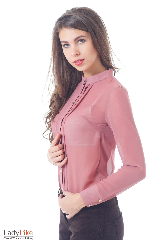 Блузка бежевая без воротника со складками Деловая женская одежда