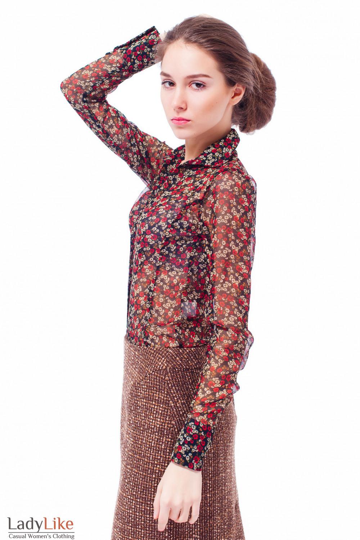 Блузка черная в красный цветочек Деловая женская одежда