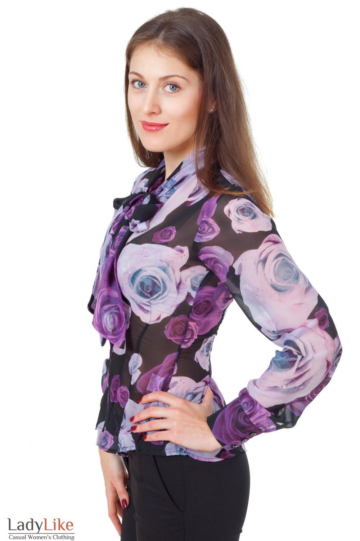 Купить блузку в крупные цветы Деловая женская одежда