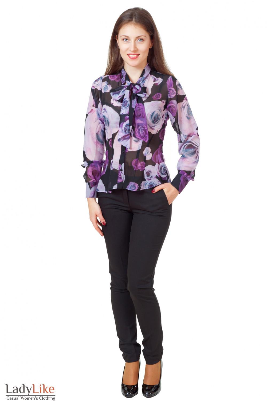 Купить блузку с черными брюками Деловая женская одежда