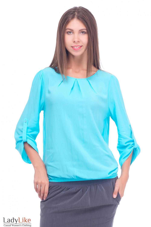 Блузка голубая с патычкой на рукавах Деловая женская одежда