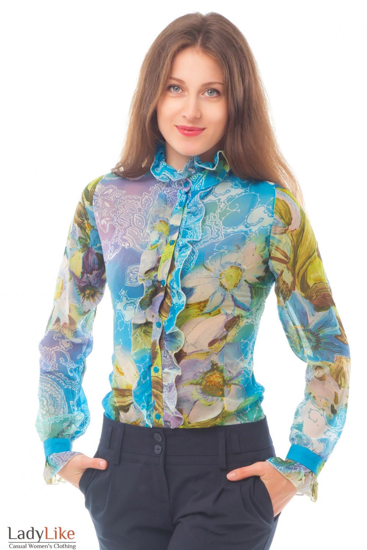 Блузка голубая с рюшем Деловая женская одежда