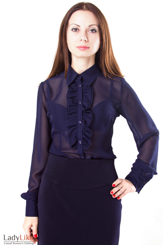 Блузки Из Шифона Темносиний
