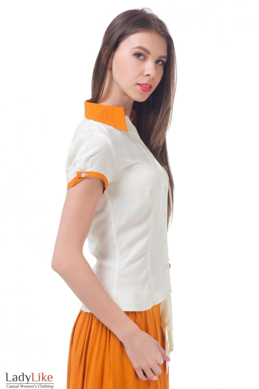 Купить молочную блузку с рыжим воротником Деловая женская одежда
