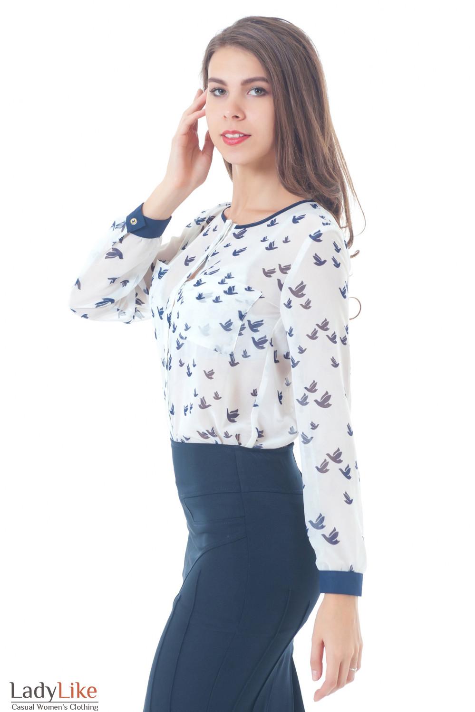Блузка молочная в птички без воротника Деловая женская одежда