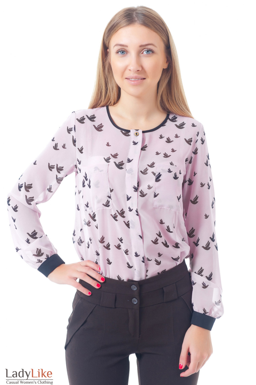 Купить розовую блузку из шифона Деловая женская одежда