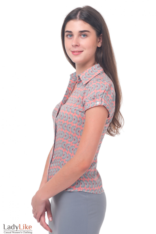 Купить розовою блузку в серые цветочки Деловая женская одежда