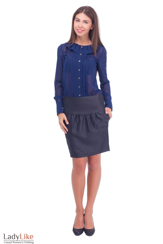 Деловая блузка из синего шифона Деловая женская одежда