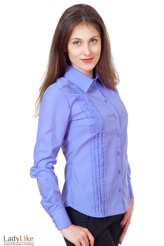 Купить сиреневую блузку со складками Деловая женская одежда
