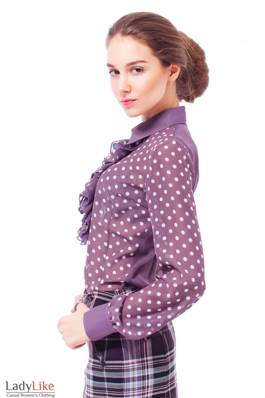 Блузка сливовая в горошек Деловая женская одежда
