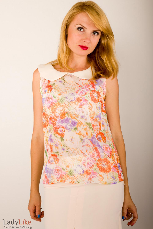 Фото Блузка в оранжевые цветочки Деловая женская одежда