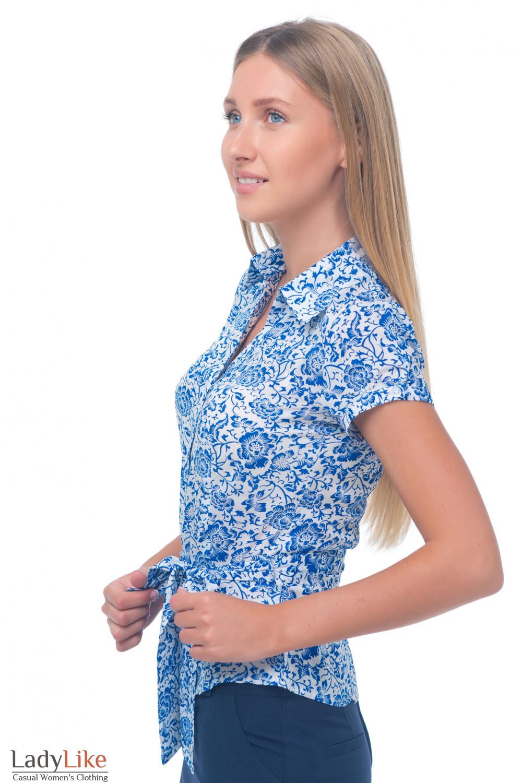 Купить блузку с ярким синим узором Деловая женская одежда