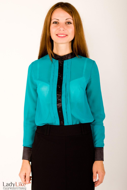 Фото Блузка зеленая с черной планкой Деловая женская одежда