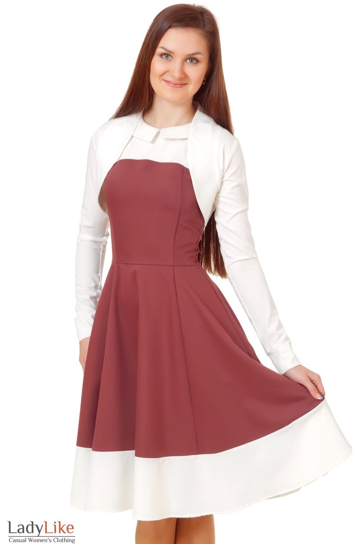 Болеро молочное с длинным рукавом Деловая женская одежда