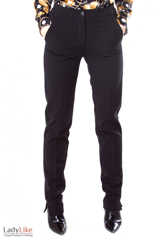 Фото Брюки черные с резинкой на поясе Деловая женская одежда