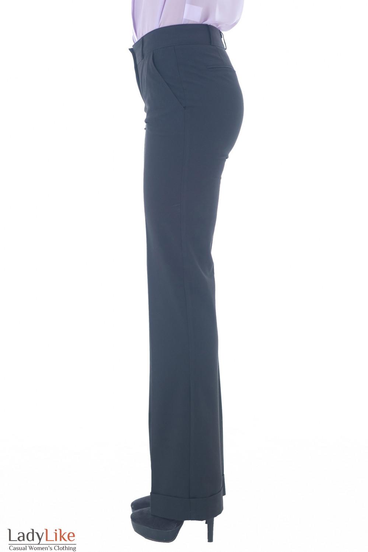 Брюки черные с широкой манжетой Деловая женская одежда