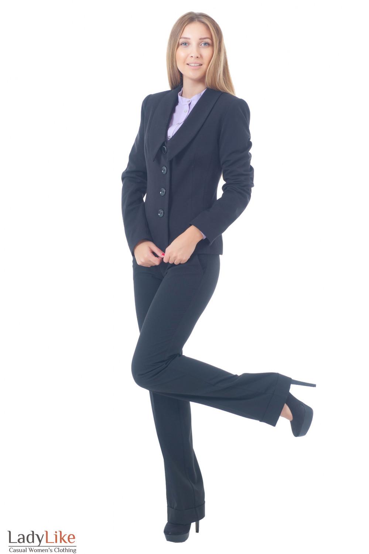 Купить черные женские брюки с манжетой Деловая женская одежда