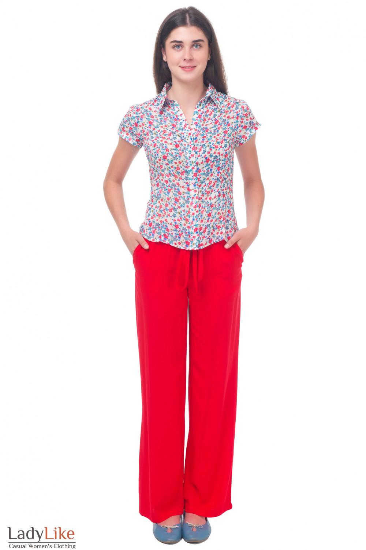 Купить красные брюки из штапеля Деловая женская одежда