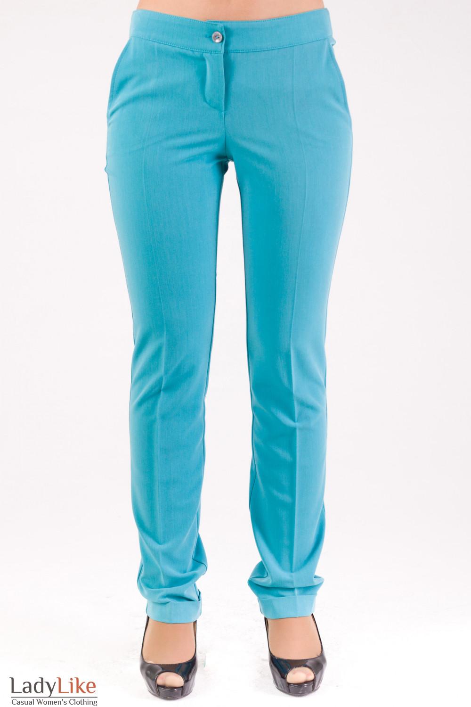 Фото Брюки с манжетами голубые Деловая женская одежда