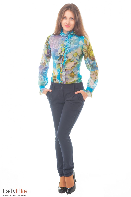 Купить синие брюки с блузкой Деловая женская одежда