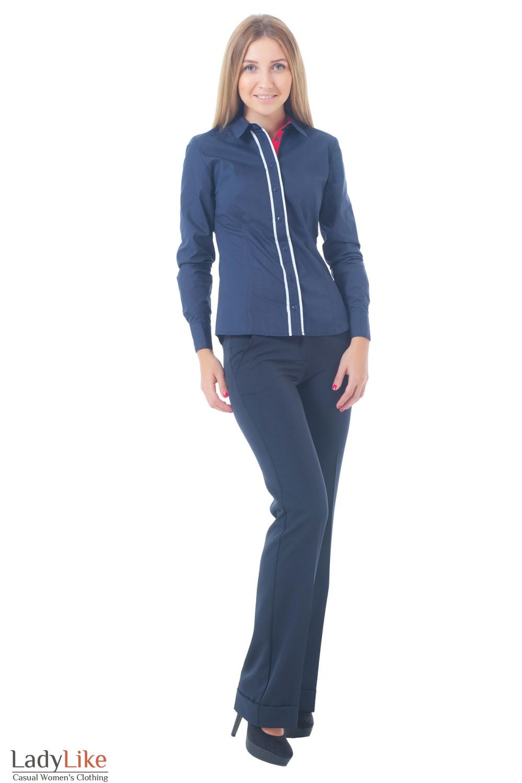 Купить синие брюки с рубашкой Деловая женская одежда