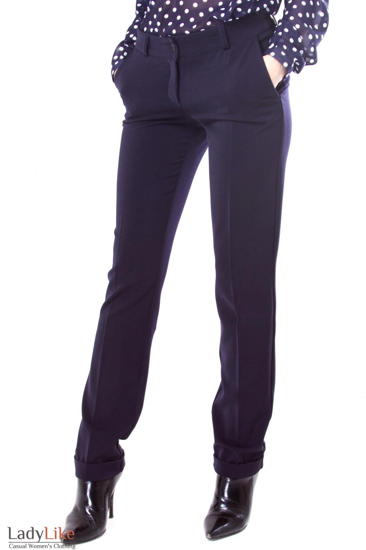 Фото Брюки синие теплые с манжетами Деловая женская одежда