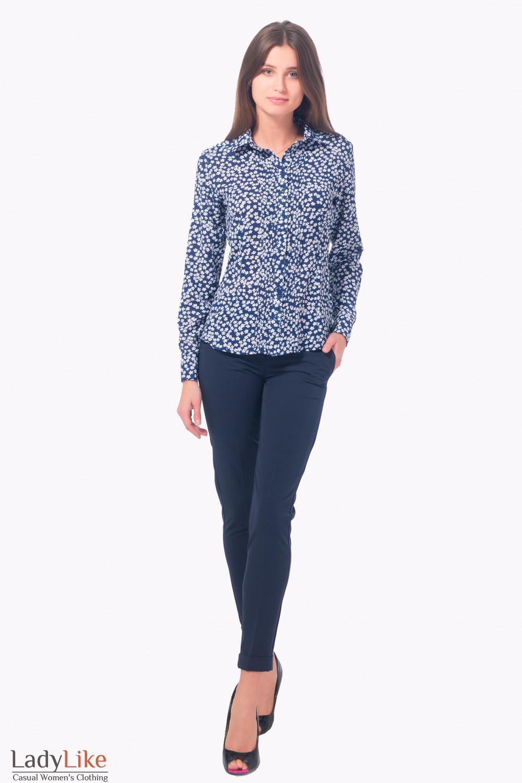 Купить синие зауженные брюки с манжетой Деловая женская одежда