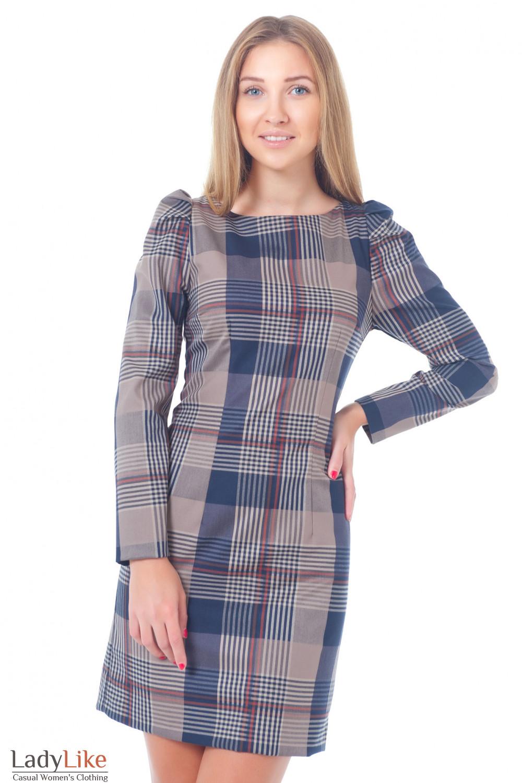 Платье-футляр в коричневую клетку Деловая женская одежда