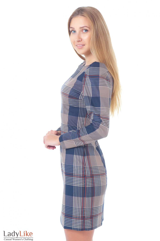 Купить теплое платье в клетку Деловая женская одежда