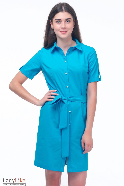 Платье-сафари голубое Деловая женская одежда