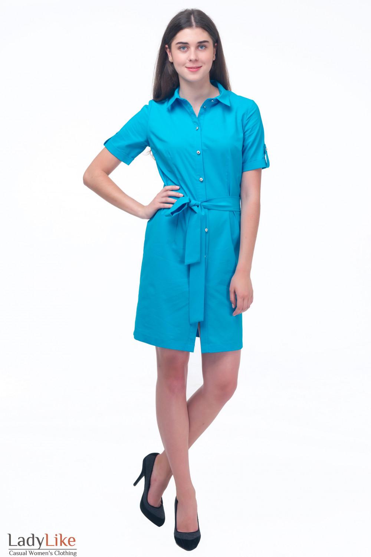 Купить голубое платье сафари Деловая женская одежда