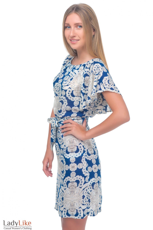 Купить платье с бежевым узором Деловая женская одежда