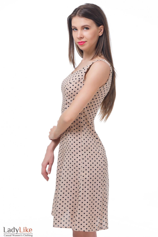 Купить бежевое платье в горошек Деловая женская одежда